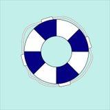 Salvavidas azul en un fondo azul Imágenes de archivo libres de regalías