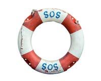 Salvavidas con el texto el SOS Fotografía de archivo