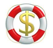 Salvavidas con la muestra de dólar ilustración del vector