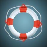 Salvavidas en fondo azul marino Fotografía de archivo