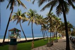 Salvavidas Station de las palmeras de la calzada de la playa de Deerfield Foto de archivo libre de regalías