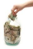 Salve el dinero en la batería Fotos de archivo libres de regalías