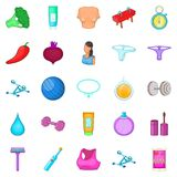 Salve icons set, cartoon style. Salve icons set. Cartoon set of 25 salve vector icons for web isolated on white background Stock Photography