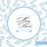 Salve la tarjeta de fecha Diseño dibujado mano floral azul de la acuarela Imagenes de archivo