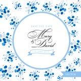 Salve la tarjeta de fecha Diseño dibujado mano floral azul de la acuarela Imagen de archivo