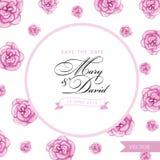 Salve la tarjeta de fecha Mano de la acuarela de las rosas dibujada Foto de archivo