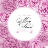 Salve la tarjeta de fecha Mano de la acuarela de las rosas dibujada Fotos de archivo libres de regalías