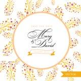 Salve la tarjeta de fecha Mano floral amarilla de la acuarela dibujada Fotografía de archivo libre de regalías
