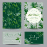 Salvi la scheda di data Foglie tropicali delle palme Invito di cerimonia nuziale Fotografie Stock