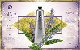 Salvia cream ad. With salvia flower, golden diamond and shiny light purple background, 3d illustration Royalty Free Stock Image