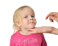 Salvia medical sample biological specimen from child baby kid mo Stock Image