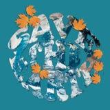 Salvo il concetto della terra in blu ed in arancione Fotografie Stock