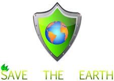 Salvo il pianeta della terra verde su metallo protegga il tasto Immagini Stock