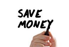 Salvo l'indicatore della mano dei soldi Immagini Stock Libere da Diritti