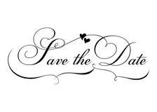 Salvo la data Calligrafia fatta a mano di vettore con la rotazione e due cuori Illustrazione Vettoriale
