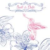 Salvo la data Carta dell'invito di nozze con gli uccelli ed il cuore floreale Immagini Stock Libere da Diritti