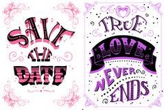 Salvo la data L'amore vero non si conclude mai Immagini Stock Libere da Diritti
