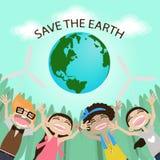 Salvo la terra Giorno di terra Abbracciare il globo Personaggio dei cartoni animati divertente Illustrazione di vettore Fotografia Stock