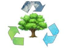Salvo la terra - simbolo di riciclaggio concettuale illustrazione vettoriale