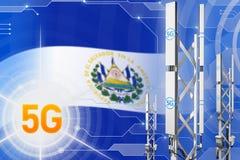 Salwador 5G przemysłowa ilustracja, ogromny komórkowy sieć maszt lub wierza na cyfrowym tle z flagą, - 3D ilustracja ilustracja wektor