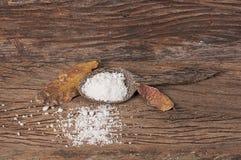 Salz im hölzernen Löffel Stockbild
