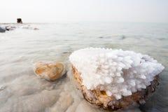 Salz im Toten Meer Stockfotos