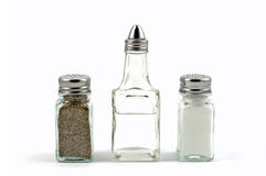 Salz, Pfeffer, Essig stockfoto