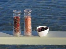 Salz, Pfeffer und Oliven Lizenzfreies Stockbild
