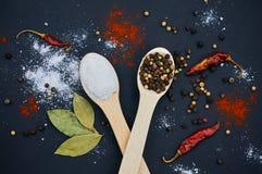 Salz und Pfeffer auf hölzernen Löffeln Mit deco Lizenzfreies Stockbild