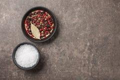 Salz und Pfeffer in den Schüsseln Lizenzfreie Stockbilder
