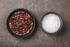 Salz und Pfeffer in den Schüsseln Lizenzfreies Stockbild