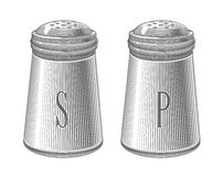Salz- und Pfefferschüttele-apparat in der Stichart Lizenzfreie Stockfotos