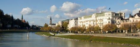 Salzach River. Elegant buildings line the Salzach River, downtown Salzburg, Austria Royalty Free Stock Photography