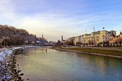 Salzach River in the center of Salzburg Stock Photo