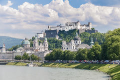 Salzach river on its way through Salzburg, Austria Royalty Free Stock Images