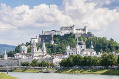 Salzach river on its way through Salzburg, Austria Royalty Free Stock Photos