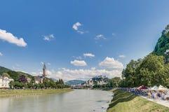 Salzach river on its way through Salzburg, Austria Royalty Free Stock Photos
