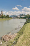 Salzach river on its way through Salzburg, Austria Royalty Free Stock Photography