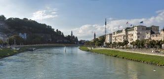 Salzach river and Makartsteg bridge in Salzburg, Austria Stock Photos