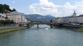 Salzach River and Salzburg, Austria Bridge View stock footage
