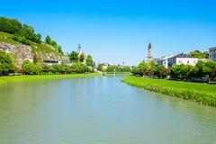 Salzach river in Salzburg. Austria. Salzach river flow eventually joins the Danube river Stock Photos