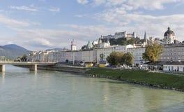 Salzach river, Staatsbrucke bridge and fortress in Salzburg, Austria Stock Photo