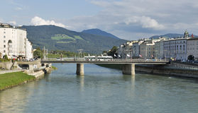 Salzach river and Staatsbrucke bridge in Salzburg, Austria Royalty Free Stock Images