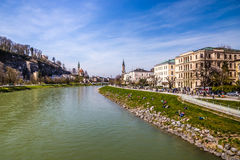 Salzach riverside and city Salzburg-Austria,Europe Stock Photo
