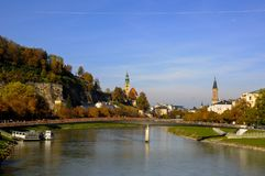 Bridge across Salzach river  with view of riverside Royalty Free Stock Images