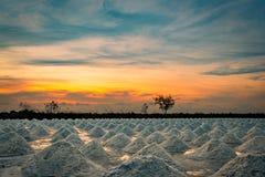 Salzbauernhof morgens mit Sonnenaufganghimmel Organisches Seesalz Verdampfung und Kristallisation des Meerwassers Rohstoff des Sa lizenzfreies stockfoto
