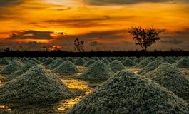 Salzbauernhof morgens mit Sonnenaufganghimmel Organisches Seesalz Verdampfung und Kristallisation des Meerwassers Rohstoff des Sa stockfotografie