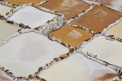 Salzbergwerke von Maras, im heiligen Tal von Peru lizenzfreie stockfotografie