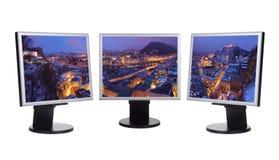 Salzburg Áustria no panorama do inverno nos telas de computador Foto de Stock Royalty Free