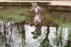 Salzburg, Áustria, 11/29/2015: Pato de mandarino em repouso na frente de uma escultura em uma lagoa Imagens de Stock